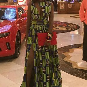CUSTOM MADE AFRICAN PRINT PROM DRESS